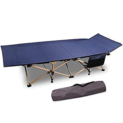 CAMPMOON Heavy Duty Camping Cots for Adults Most Comfortable, Sturdy Folding Sleeping Cot for Camping Outdoor Travel, Portable with Carry Bag, Blue