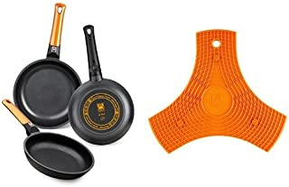 BRA Efficient Orange - Set de 3 sartenes + Safe - Salvamanteles de silicona multiusos imantado