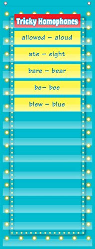 """Teacher Created Resources Light Blue Marquee 14 Pocket Chart (13"""" x 34""""), Model: 20773"""