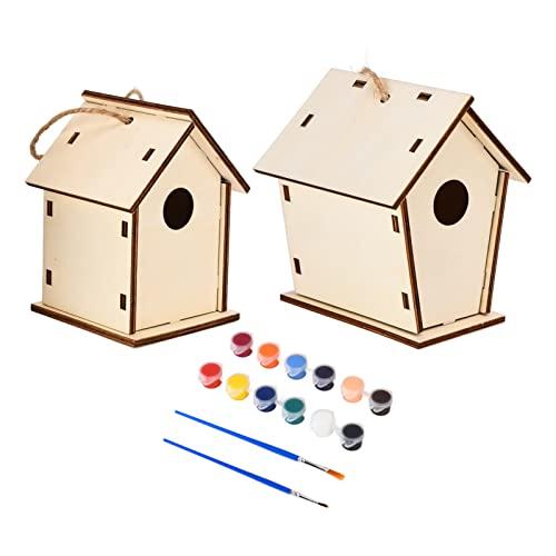 Les-Theresa Casa de pájaro DIY Pintura Creativa para Colorear Casa de pájaro de Madera Decoración de Manualidades para niños