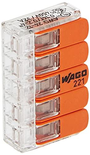 WAGO 33346428 Kopp 33346403 Steckklemme 5-Fach mit Hebel für Flexible Drähte wiederöffenbar, 14-4mm, 5x0,2-4mm, 5xAWG24-12Cu Inhalt 25 Stück, transparent/orange