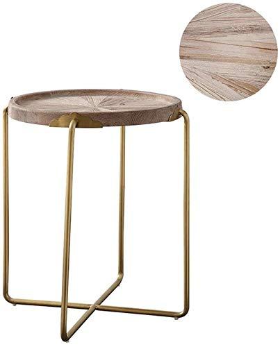 Bijzettafel bijzettafel woonkamer woonkamer ronde eiken natuur bijzettafel, vintage hout Old tafel corner tafel, smeedijzer-metaalkleuren-tray