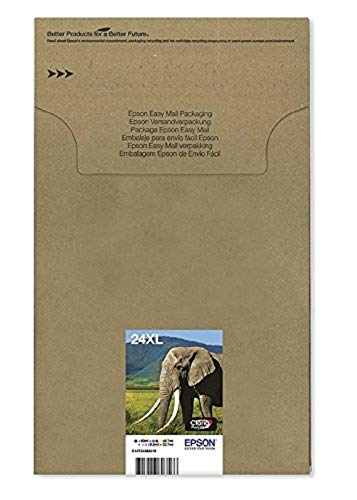 Epson 24 Serie Elefante, Cartuccia Originale Getto d'Inchiostro Claria Photo HD, Formato XL, Multipack 6 Colori, con Amazon Dash Replenishment Ready