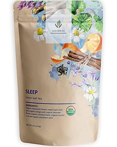 Gardenika Sleep Loose Leaf Herbal Tea, USDA Organic, Chamomile, Lavender, Licorice Root, Ayurvedic, Caffeine Free Botanicals Blend, Wellness and Immune Support, 25+ Cups - 4 oz
