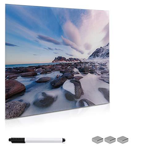 Navaris Memoboard Glas 50x50cm Magnettafel - Tafel magnetisch im Beach Design - Magnetwand zum Beschriften - Board inkl. 3X Magnet Halterung Stift