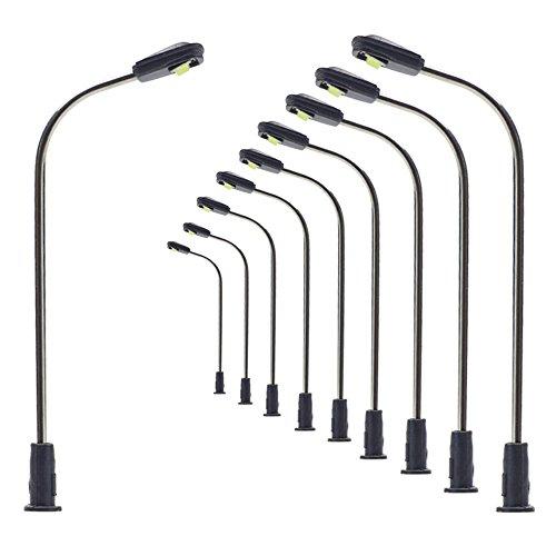 LQS05 10pcs Model Railway Train Lamp Post 3.6cm or 1.42inch Street Light Bright Cool White N Z Scale LEDs New