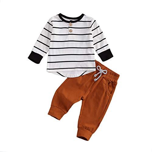 Geagodelia Baby Kleidung Jungen Sweatshirts Langarm Oberteile Hose Baby Neugeborenen Set Outfit Babykleidung Set (Weiß, 0-6 Monate)