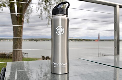 TEMP SAVER Best Stainless Steel Vacuum Insulated Water Bottle, NEW larger 25 Oz Capacity, Wide Mouth, Double Wall Design, with Straw Cap Included! The most user friendly bottle on the market!!