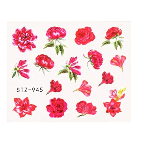 JSIYU Stickers Ongle Série de Fleurs Nail Water Decal Sticker Floral Sakura Daisy Rose Leaf Transfer Slider Foil Nail Decoration A-Y02