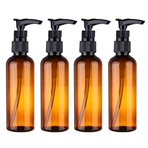 PRETYZOOM 4 Pcs 100 ML Rechargeable en Plastique Pompe Distributeur Bouteilles pour Lotion De Massage Huile Shampooing Conteneurs Ronde Pompe Bouteilles Brun