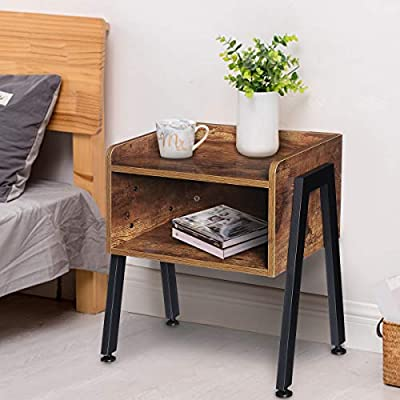 Amazon - Save 20%: KingSo Industrial Nightstand End Table Stackable Side Table Nigh…