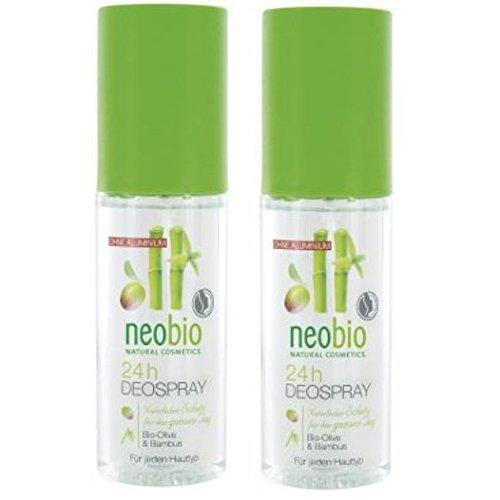 neobio 24h Deospray Olive Bambus 2er-Pack (2x 100ml) (bio, vegan, Naturkosmetik) Deodorant Spray x2