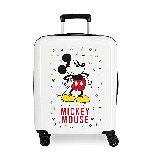 Disney Mickey Style Trolley cabina Multicolore 37x55x20 cms Rigida ABS Chiusura a combinazione numerica 38.4L 2,9Kgs 4 doppie ruote Bagaglio a mano
