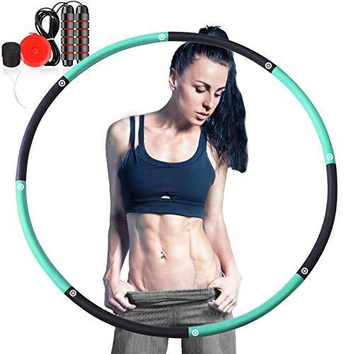 Camfosy Fitnesskreis, Fitness Reifen Gewichtsverlust Schlankheits Kreis 8 Segmente Abnehmbarer Hula Reifen mit Mini Bandmaß und Springseil für Erwachsene Kinder Fitness Bauchformung Zuhause BüRo