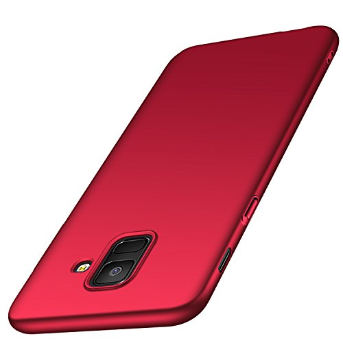 Anccer Coque Samsung Galaxy A6 [Serie Mat] Resilient Conception Ultra Mince et Absorption des Chocs Coque pour Galaxy A6 2018 (Rouge Lisse)