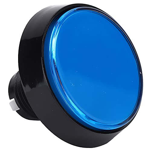 Mini botón de Color de 60 mm con luz led, botón Plano Redondo Grande de 12 v, Interruptor de pie de Consola de Juegos, para Consola de Juegos para niños/máquina de Cuna(Azul + LED)