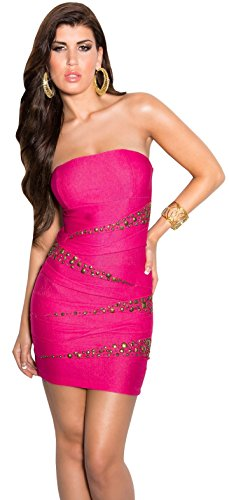 Firstclass Trendstore Bandeau Kleid mit Nieten Gr. XS-M, Bandeaukleid Minikleid schulterfrei Jeans-Look ärmellos Abendkleid (900431 pink S)