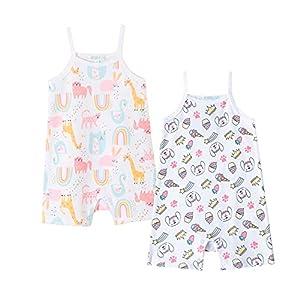 Amomí Pijama Manga Corta Bebé Niña Pelele Verano Bebé Niña Pack de 2 Pcs 12 Meses 100% Algodón (12 Meses, 21026+30, 12_Months)
