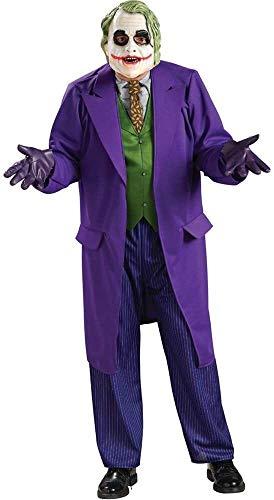 Qfeng Disfraz de Batman El Caballero Oscuro Deluxe El Joker Disfraz, Negro/Prpura, Estndar (Color: Prpura, Tamao: Estndar)