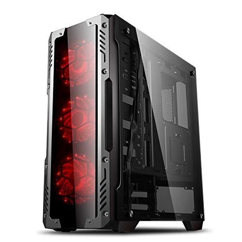 GOLDEN FIELD Z2 Mid-Tower ATX PC Gehäuse ATX Gaming Computer Gehäuse, 3* 120-mm-LED-Lüfter, Schaltersteuerung für Gehäuselüfter, 3* Gehärtetes Glas für Desktop-PC