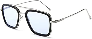 Vintage Aviator Square Sunglasses for Men Women silver Frame Classic Tony Stark Sunglasses