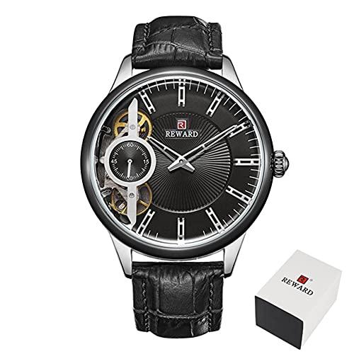 Relojes mecánicos para hombre Tourbillon automático Reloj de cuarzo para hombre de cuero casual de negocios CXSD (color: negro)