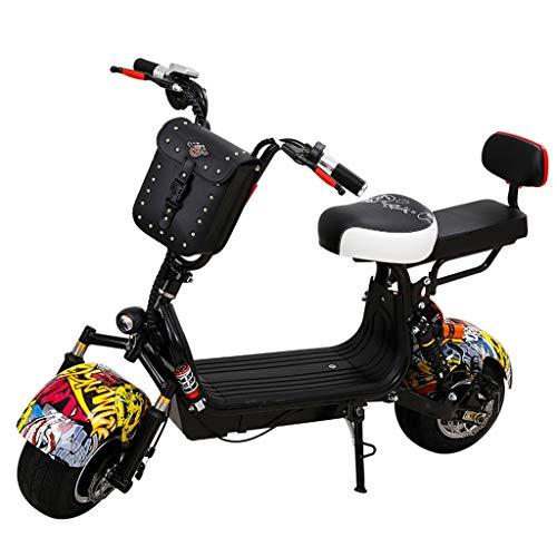 JCOCO Patinete eléctrico Biplaza, neumático de Goma de vacío de Alta Potencia de 800 W y Scooters extraíbles de batería de 60 V, Scooter Electrico Moto, con Asiento Trasero
