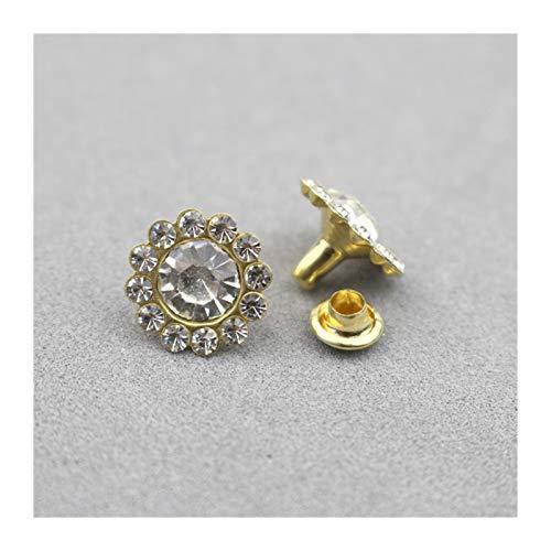 Clong01 Duradero 100SETS 11MM Flores Forma Crystal Rhinestone Remaches Remaches Diamante Studs DIY Crafts Arts Decoración de Cuero Espiguas Taladro Uñas para la reparación de artesanías