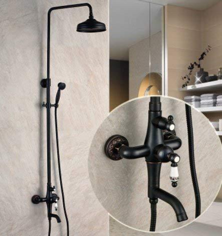 zwart ontwerp douchegordijn muur opknoping compleet koper douche set, A A