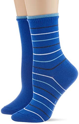 ESPRIT Damen Easy Stripe 2-Pack Socken, blau (cobalt 6712), 39-42 (2er Pack)