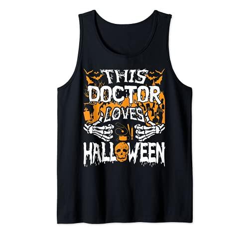 Este mdico ama Halloween Huesos Cirujano Divertido Mdico Camiseta sin Mangas