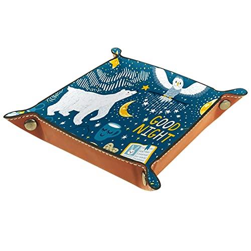 Organizadores de escritorio de cuero Bandeja Caja de almacenamiento Vector conjunto buenas noches con oso polar búho nevoso para llaves, monedas, teléfonos, joyas