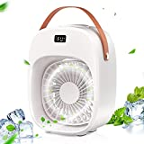 BNT Portable Air Conditioner, Evaporative Air Conditioner Fan, 3 Wind Speeds & 2 Misting Levels, Humidifier, Night Light, Rechargeable Battery, Personal Air Cooler Fan for Home/Office/Outdoor, White