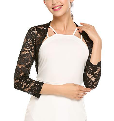 Grabsa Women's 3 4 Sleeve Lace Shrugs Bolero Cardigan Crochet Sheer Crop Jacket Black