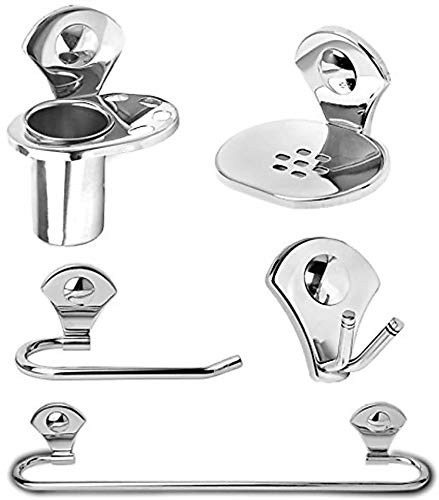 Capital® Bathroom Accessories Set Combo of 5(Set on 1) Robe Hook, Shop Dish, Tumbler Holder, Towel Holder, Towel Rod Silver (Stainless Steel)