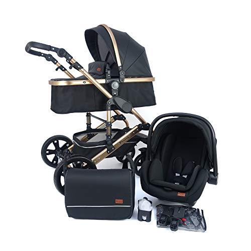 Pixini Kinderwagen gold/schwarz (Kinderwagen California 3in1 + Babyschale + Extras)