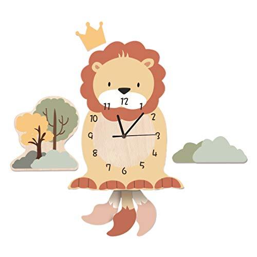 Garneck Reloj de Pared de León de Madera Decorativo de Dibujos Animados Animal Colgante de Pared Reloj Infantil Habitación de Niños Decoración de La Pared