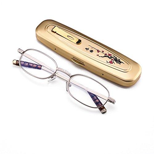 Bluelover Shuaidi ® handgesneden mini draagbare leesbril metaal full frame hars prebyopisch bril 8806