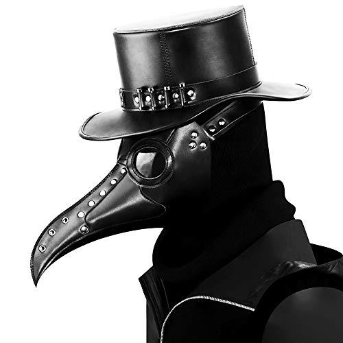 URBANSEASONS Plague Doctor Mask Leather Long Nose Bird Beak Doctor Mask Steampunk Halloween Costumes Props Mask Black
