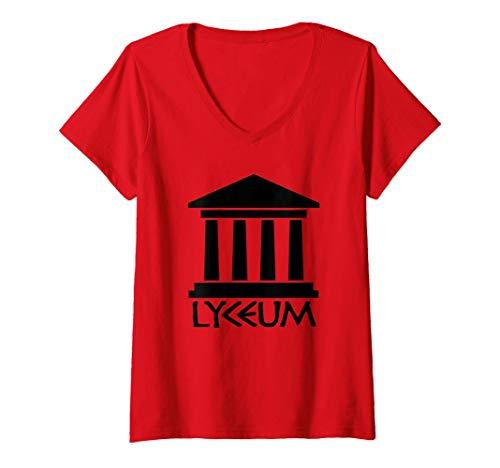 Mujer Lyceum - Escuela Aristóteles Antigua Grecia Filosofía Griega Camiseta Cuello V