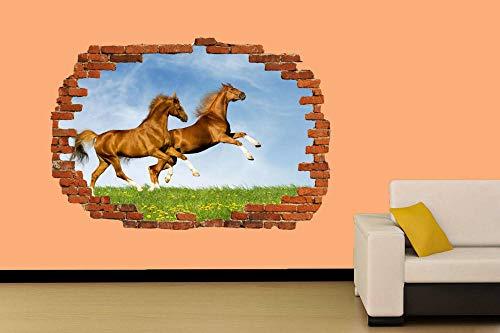 Dos hermosos caballos en el campo Etiqueta de la pared Decoración de la habitación Calcomanía Mural Clase A 60x90cm