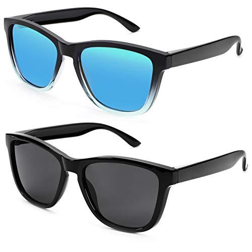 Braylenz 2 Pack Polarized Sports Sunglasses for Men and Women, 100% UV Protection Driving Sun Glasses (Black/Blue Mirrored Lens + Black)
