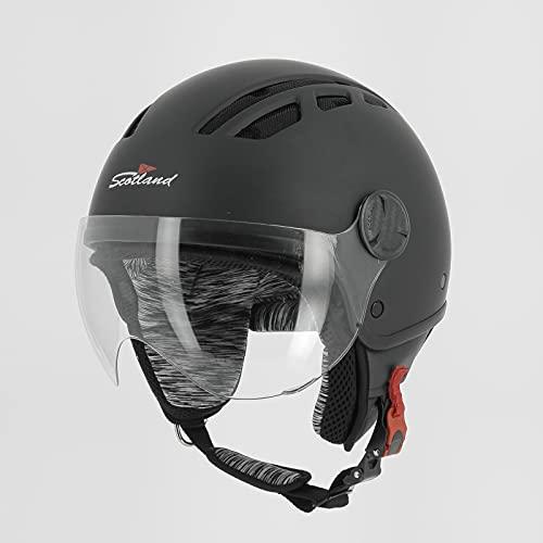Scotland Motorcycle Dept 120027 Ventotene Helm mit Visier, mattschwarz, L