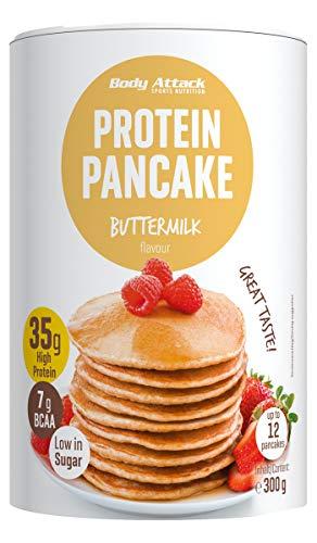 Body Attack Protein Pancake Mix, proteína en polvo para tortitas con 35% de proteína, pierda peso rápido y fácil con la mezcla para hornear baja en azúcar, 300g, Suero de leche