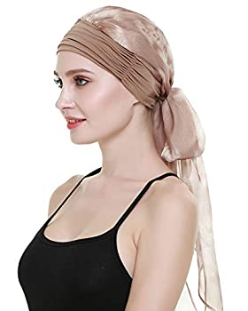 Easy Wear Chemo Caps for Women Cancer Scarves Hats Elastic Beanie Light Brown