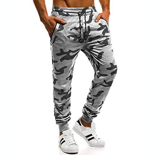 Ba Zha Hei Männer Camouflage-Hose Hose Große Größe Männer Casual Jogger Camo Sportwear Baggy Harem Hosen Hosen Hosen Jogginghose Outdoorhose Freizeithose (XXL, 1-Grau)
