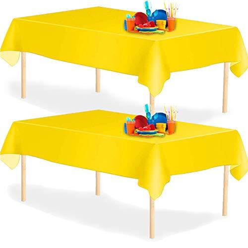 YANGTE Einweg Tischdecke aus Kunststoff 4 Stück,Gelb Plastik Tischtuch Rechteck 137x274cm für Tische im Indoor und Outdoor Partys, Garten, Geburtstage, Hochzeiten, Weihnachten