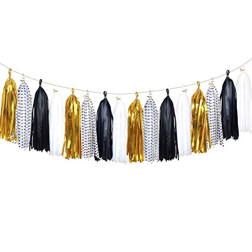 Aonor Tissue Paper Tassels Banner - Tassels Garland for Bachelorette Party, Birthday Party, Black and Gold Party Decorations 20 pcs