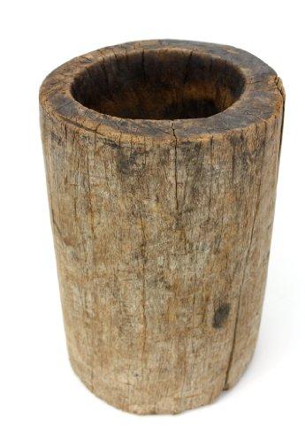 Farang Antiker thailändischer Holzmörser, Gerade Seiten