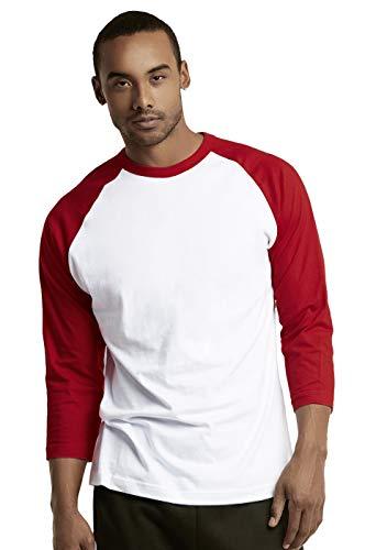 TOP PRO Men's 3/4 Sleeve Casual Raglan Jersey Baseball Tee Shirt (L, RED/WHT)